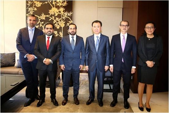 Abdullah Al Habbai, met with Wanda Group Chairman Wang Jianlin