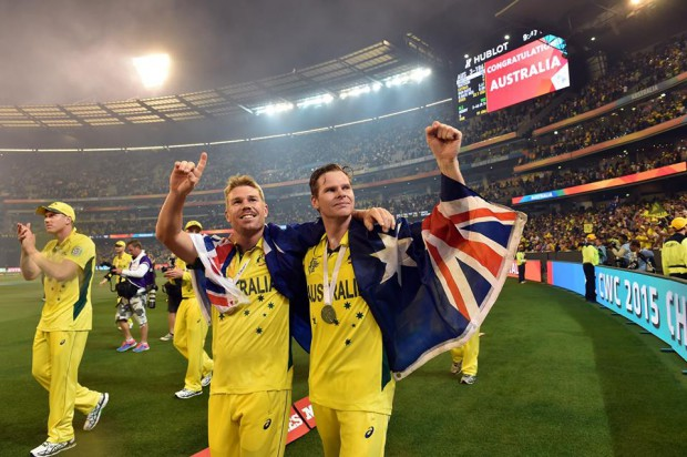 Warner and Smith after winning 2015 world cup