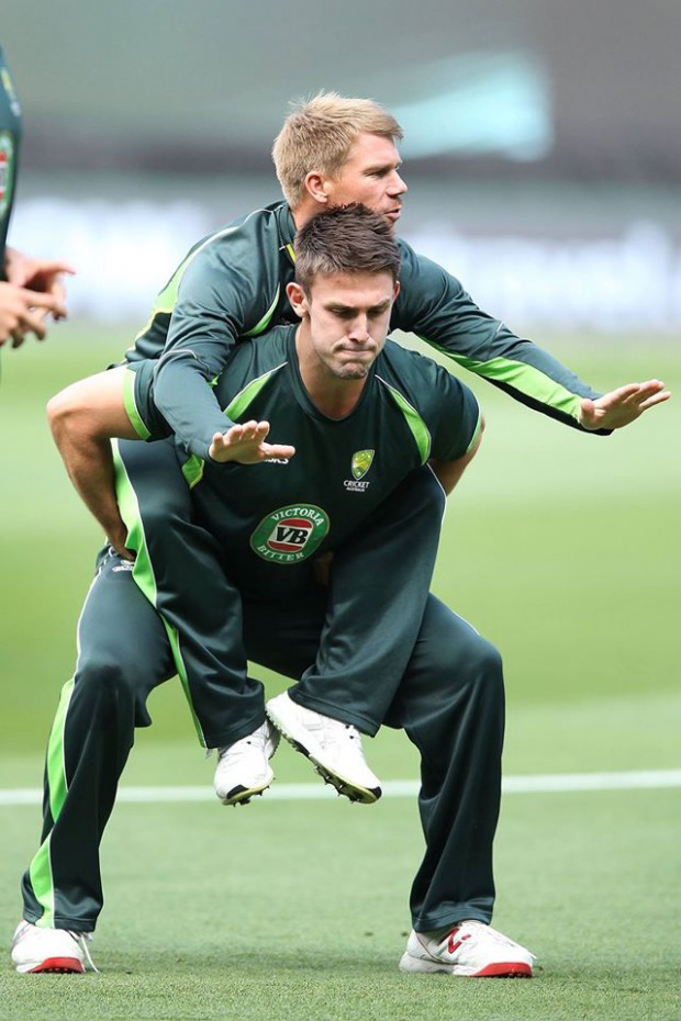 Warner in training session