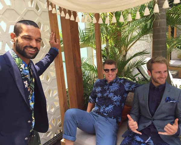 Warner with Dhawan and Kane for Tom Hilfiger photoshoot
