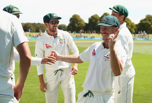 Warner with teammates