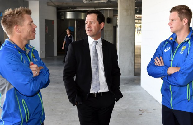 Warner and Smith with The Ricky Ponting