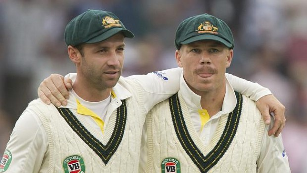 Warner with his close friend Late Phill Hughes