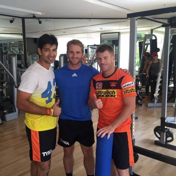 David Warner with SRH teammates Kane Williamson and Naman Ojha