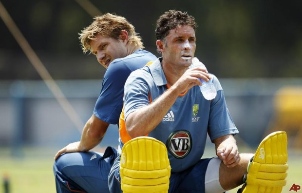 Watson and Hussey during Practice Session