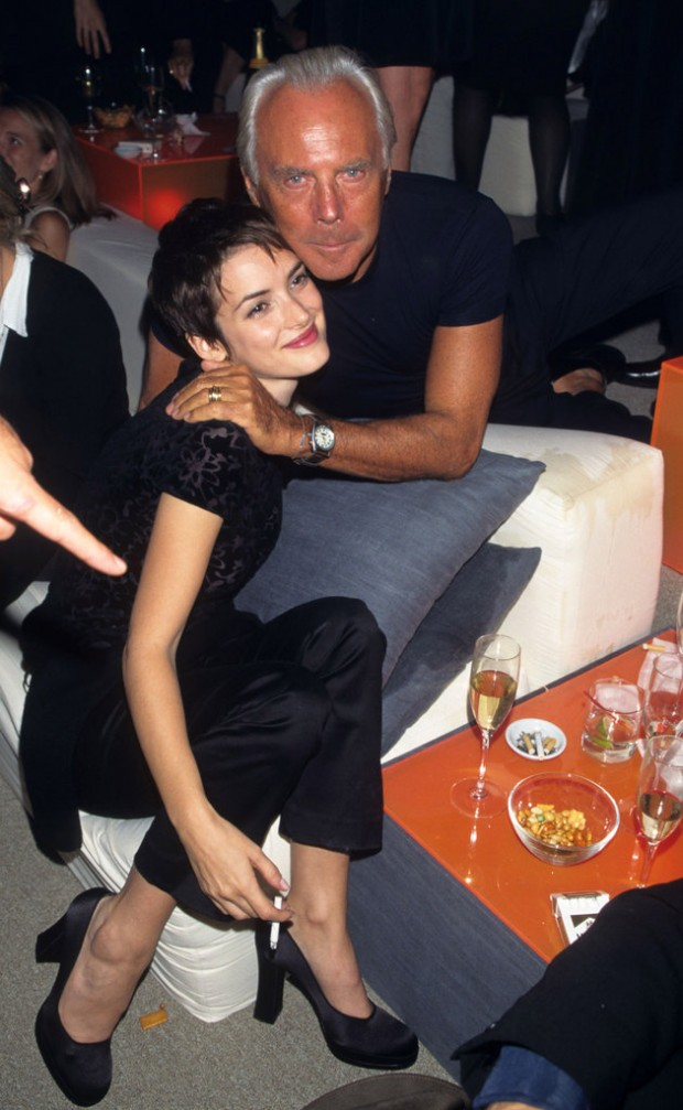 Armani with Winona Ryder at a Party