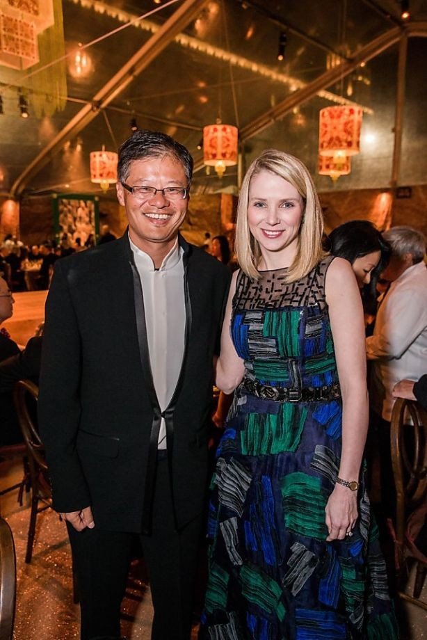 Jerry Yang with Yahoo Inc. CEO Marissa Mayer