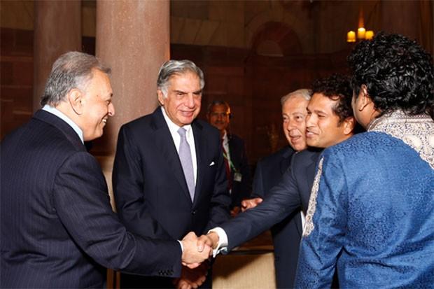 Yusuf Hamied with Sachin Tendulkar, AR Rahman, Ratan Tata and Zubin Mehta