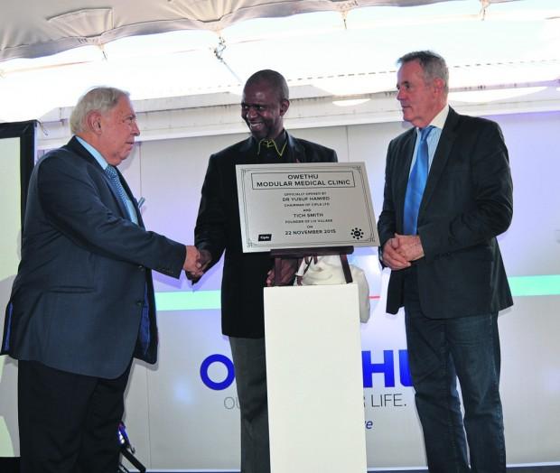 Yusuf Hamied with Sibongiseni Dhlomo and Tich Smith