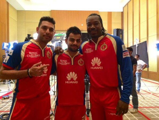 Yuvraj Singh With Chris gayle and Virat Kohli