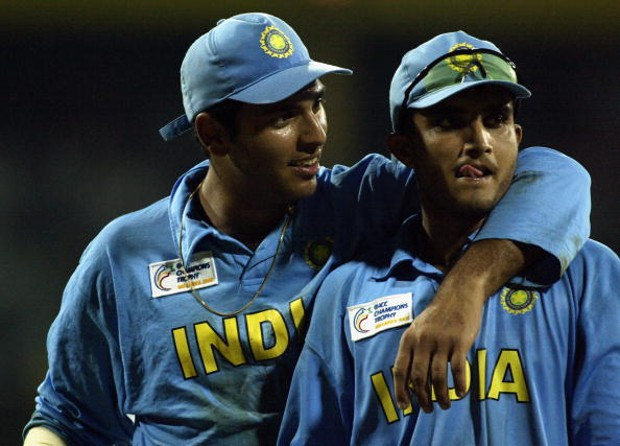 Yuvraj Singh with his favourite captain Sourav Ganguly