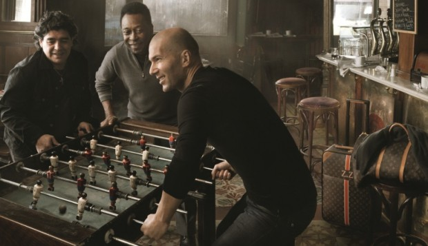 Zidane with Soccer Legends Pele and Maradona