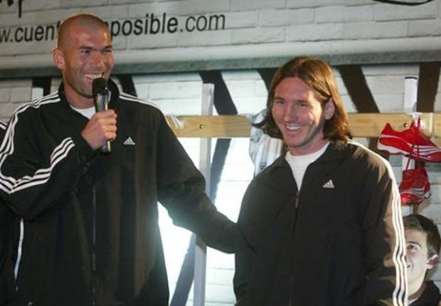 Zidane with Lonel Messi during adidas event