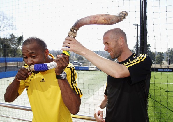 Lucas Radebe and Zinedine Zidane at Discovery Soccer Park at Johennesburg