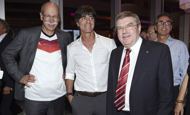 Daimler CEO Dieter Zetsche, Germany's head coach Joachim Low and IOC president