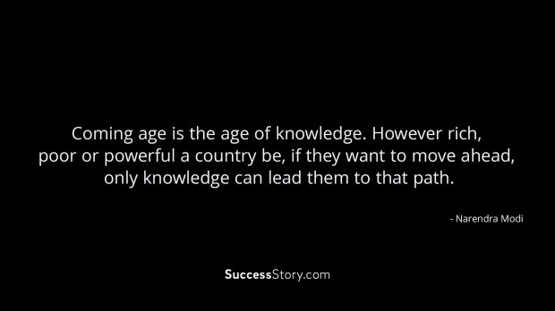 Coming age is the age of knowledge
