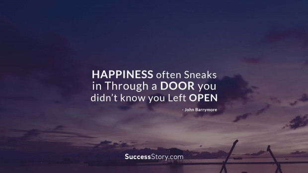 Happiness often sneak